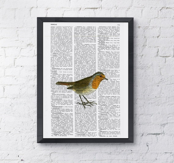 Cute robin, Wall art, Wall decor,   Vintage Book sheet, Nursery wall art, Prints, Robin prints, ANI182