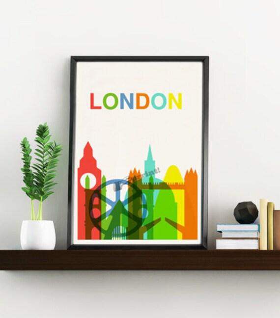 London skyline travel art print TVH018WA4