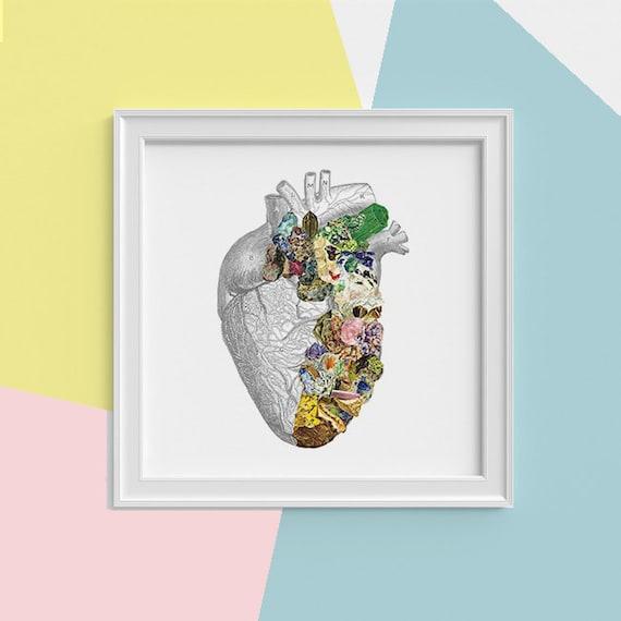Minerals Human Heart anatomy Print wall art Heart Science student gift Mineral art print,Medicine student gift SKA128SQ1