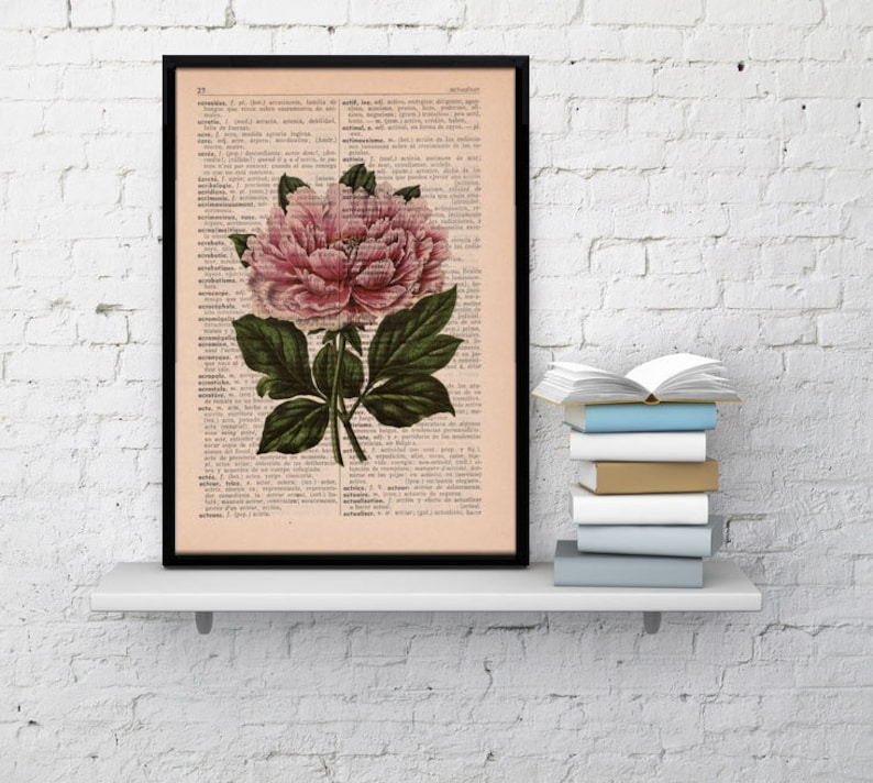 Wall decor Floral Print Dictionary print Peony flower on image 0