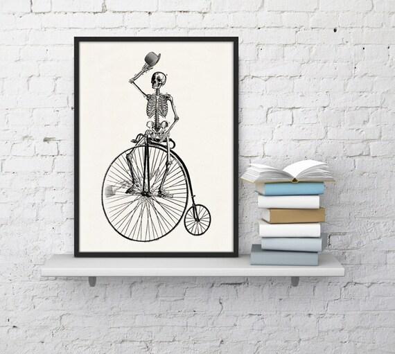 Wall art Skeleton on a bike. Funny Skeleton, Anatomy art, Anatomical art, Wall art decor, , Doctors gft SKA014WA4