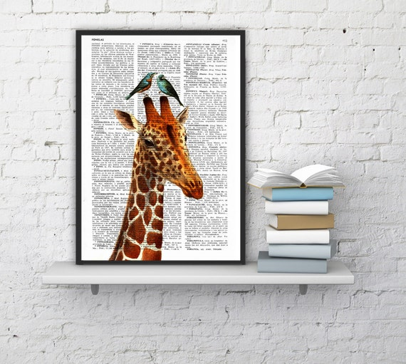 Honeymoon giraffe Printed on Vintage Dictionary Page perfect for Christmas gifts ANI006b