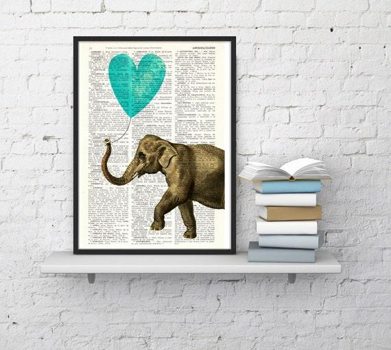 Christmas gifts for her Elephant, Wall Art, Wall art, Wall decor,   Vintage Book sheet, Nursery wall art, Prints, Dorm Decor  ANI218