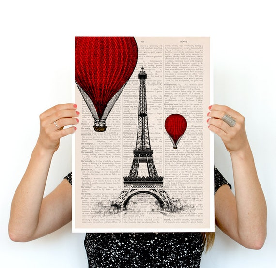 Eiffel tower and ballon ride poster, paris art, Wall art r, French art poster,  poster, Paris  TVH027PA3