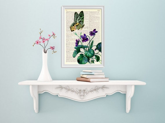 Violets and the butterfly Decorative art printed on Dictionary Page wall art, home decor, wall hanging flower BFL105