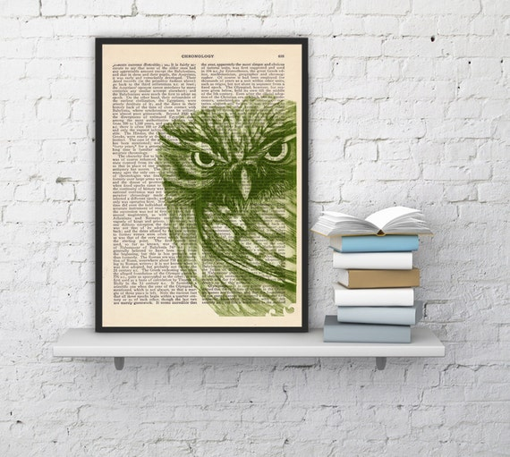 Owl, Wall art, Wall decor,   Vintage Book sheet, Nursery wall art, Prints, Wholesale, ANI034