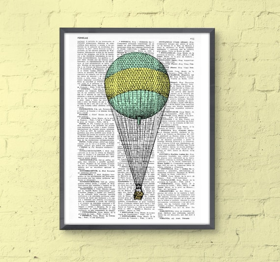 Simple Hot air Balloon Wall art Print, Hot air balloon decoration, mixed media art giclee print, nursery  TVH077