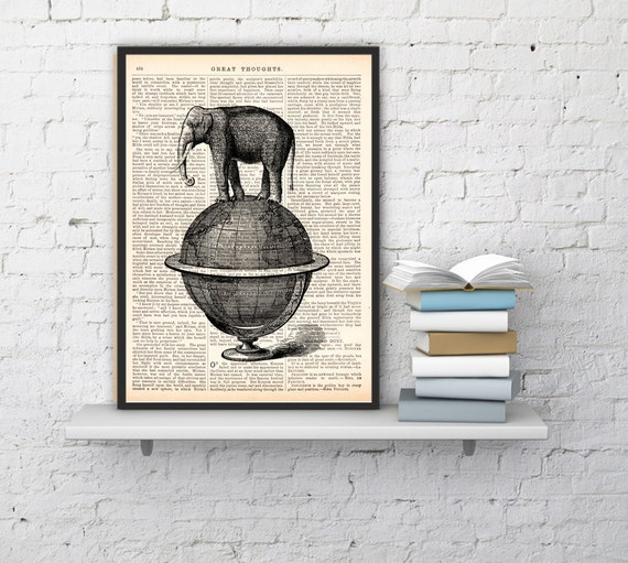 Wall art Book Print Dictionary or Encyclopedia The Elephant takes a walk over a world globe wall art print ANI093