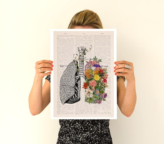 Springtime Breathe, Colorful Lungs Poster, anatomical art, Lungs Relaxing flower art, Human Lungs Yoga art poster, SKA139PA3