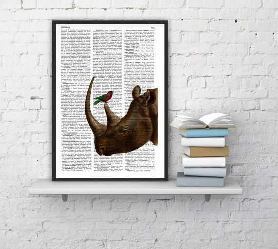 Rhino and little bird Illustration poster dictionary page Wall hanging Giclee Print Animal Portrait print rhino ANI072