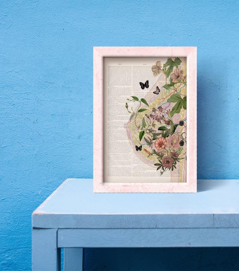 Beautiful Breast collage Woman gift  Feminist art Medicine image 0