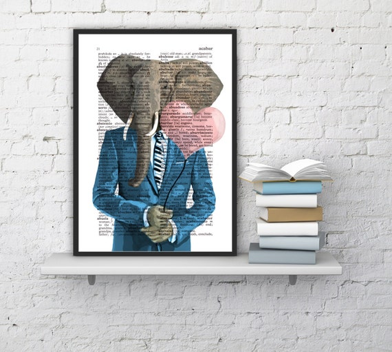 80's Elephant in love, Wall art, Wall decor,   Vintage Book sheet, Nursery wall art, Prints, Elephant ANI095