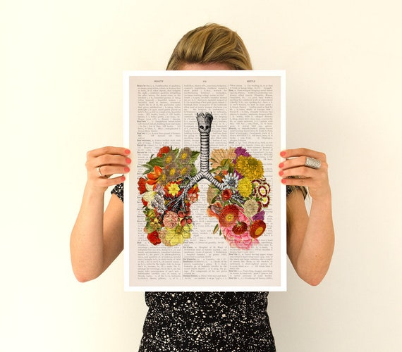 Flowery lungs Poster, anatomy art, wall art, wall decor, poster, anatomy, anatomy poster, science, medical student gift, lungs SKA062PA3