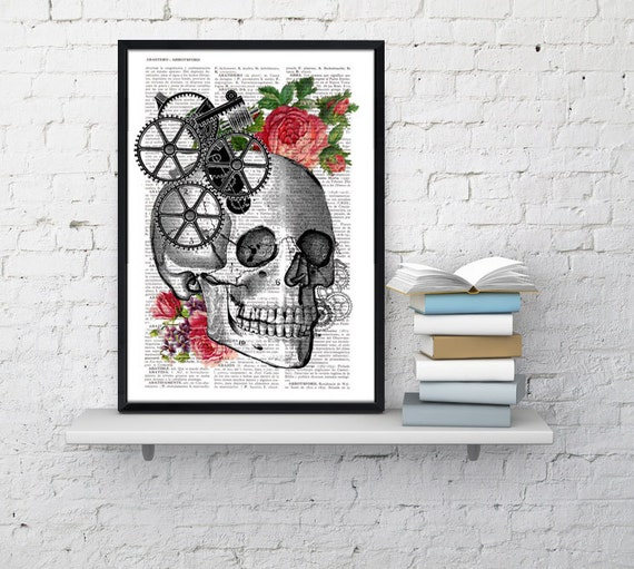 Christmas gifts for her Skull Book Print - Upcycled Dictionary book page Human skull with roses- Vintage art print SKA004