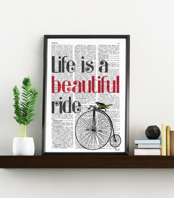 Quote print life is a beautiful ride, GIRL BEDROOM Art, Sister BIRTHDAY Gift, Bedroom Decor Wall Quote  TYQ010