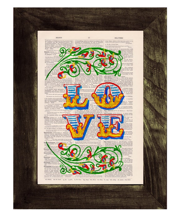 Christmas gifts for mom Love typography Printed on Dictionary Book page- Love  Art on Upcycled Dictionary Book - Wall Art Home Decor TYQ035