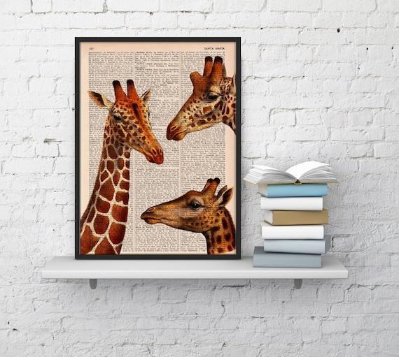 Giraffes meeting , Wall art, Wall decor,   Vintage Book sheet, Nursery wall art, Prints,   ANI010