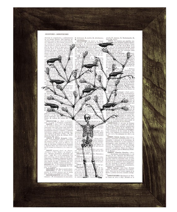 Skeleton Tree and crows Print on Vintage Book- Altered art- Recycled dictionary page print SKA072