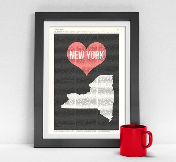 New York State, Vintage Book, United States of America, Wall art, Wall decor, Home decor,  Vintage Book,  TVH084