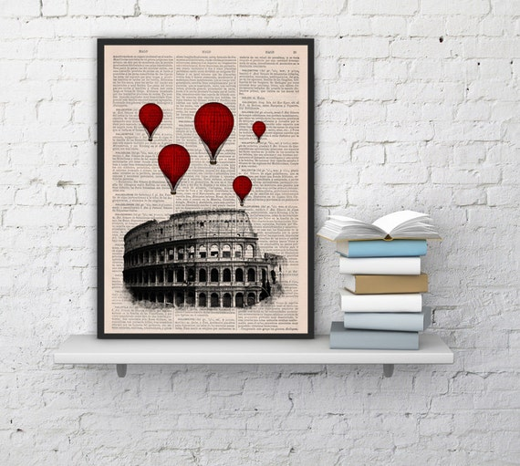 STEAMPUNK Rome Colosseum and red Balloons, Poster art, Office art decor, Wall art, Wall decor, Home decor  TVH039