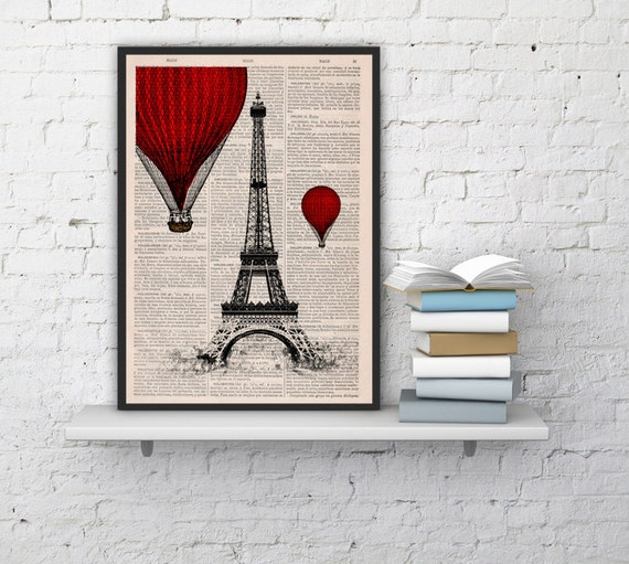 Eiffel Tower Red Hot Air Balloon Print, Art Print, Balloon Illustration art, wall decor over paris TVH027