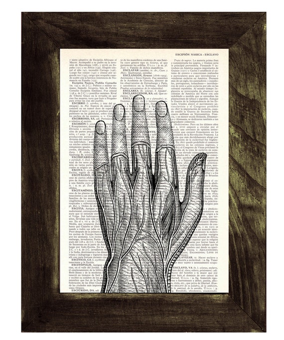 Medical student gift- Anatomical study of a Human Hand on Vintage Book page- Anatomy study- Gift for doctors  SKA037
