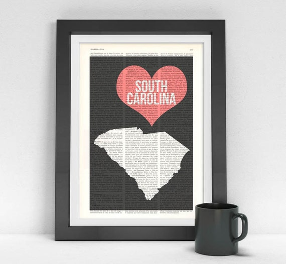 South Carolina State, Vintage Book Print, I love United States of America,  Wall art, Wall decor TVH083