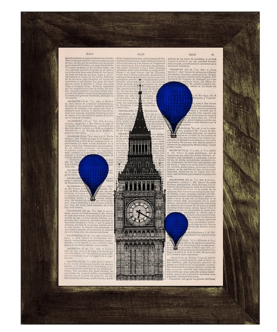 Christmas gifts for her London Big Ben Tower, Electric Blue Balloon Ride Print on Vintage Book art, Wall art, Wall decor  TVH010