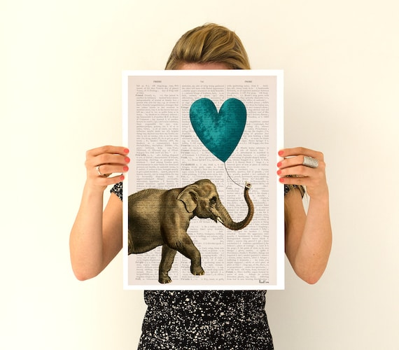 Elephant with a blue heart shaped balloon, Elephant art, Nursery art, Wall decor, Wall art, Animal art ANI216PA3