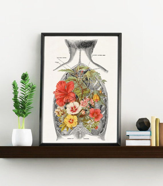 Nature inside an Open Human Back Anatomical art SKA098WA4