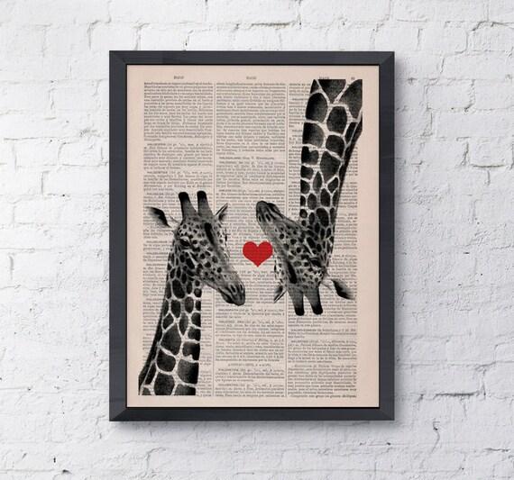 Christmas gifts for her Giclee  Giraffes in love, Wall art, Wall decor,   Vintage Book sheet, Nursery wall art, Prints, Giraffe ANI012