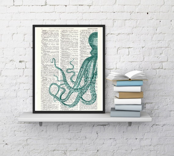 Curious turquoise Octopus wall art, house decor, Wall hanging, poster Print, gift, Octopus art print SEA082