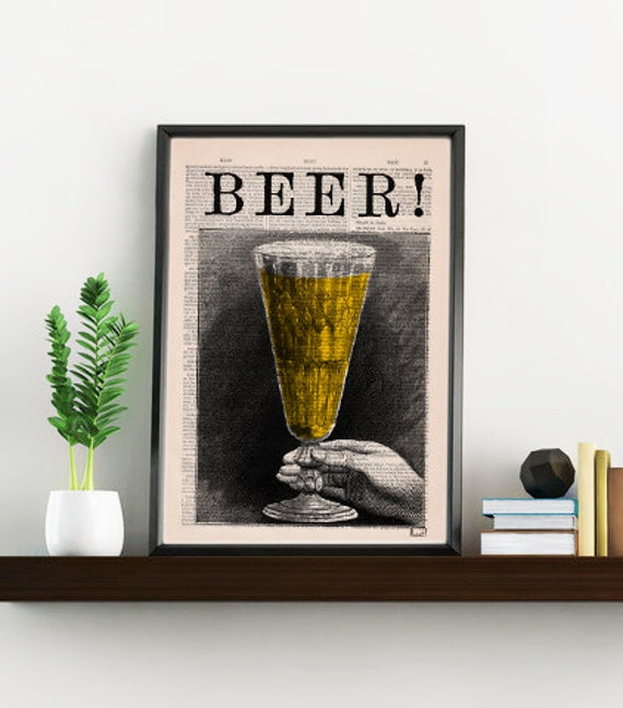 Beer print Vintage dictionary a pint of beer Old engraving poster Printed on Vintage Book page Man gift TYQ029