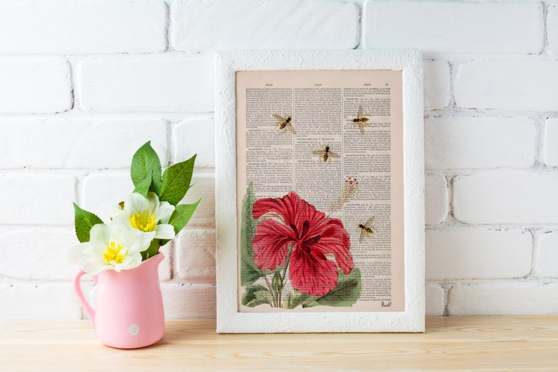 Bees and the Hibiscus on Dictionary page the best for gifts image 0