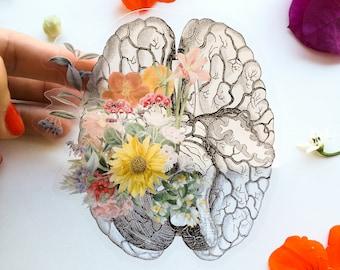 Back to school sale Brain Stickers - Flower Brain Sticker - Brain Decal - Laptop Sticker - Feminist Gift - Transparent Stickers  - STC028
