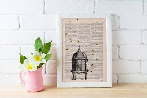 Bumble bee hive , Bee hive Dictionary art,  Wall Art Home Decor- Bee hive Art-  giclee print BFL029b
