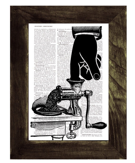 dictionary  print - house wall art OUCH - Upcycled art collage book print SKA076
