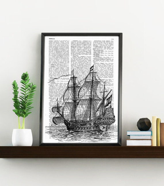 Old ship print on Dictionary or Encyclopedia Page perfect for gifts  SEA011b