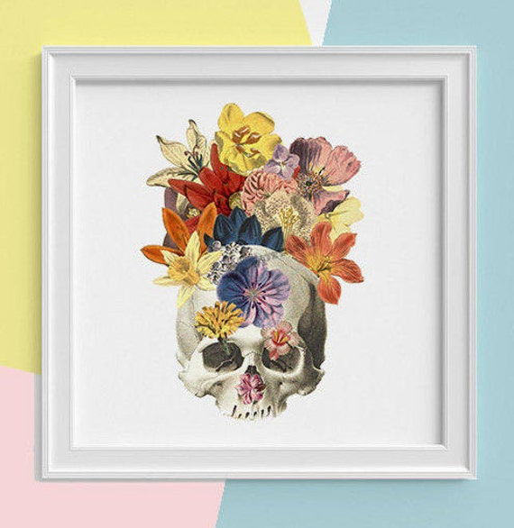 Christmas gifts Skull with flowers Print, wall art, Human anatomy print, Science student gift Human skull art print,  Minerals  SKA016SQ1