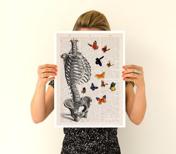 Human Skeleton Torso full of butterflies, Anatomical art, Anatomy art, Wall art, Wall decor, Anatomy, Poster, medical student gift SKA095PA3