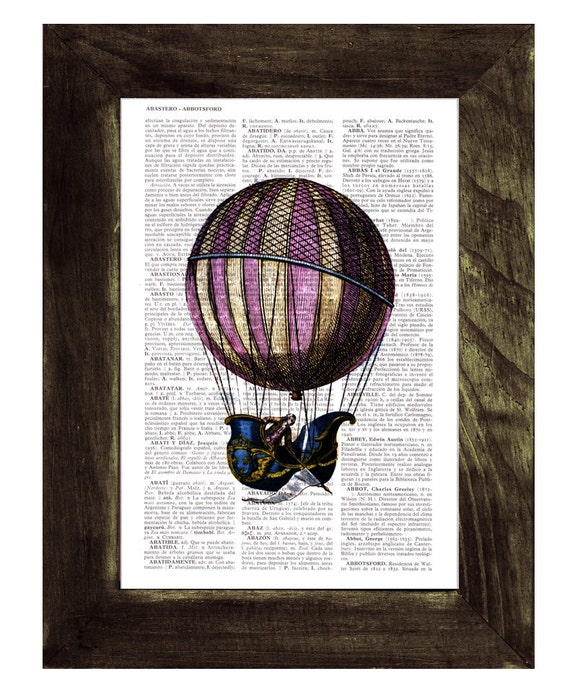 Christmas gifts for her Fantastic hot air balloon, Wall art, Wall decor, Home decor, Digital prints, Prints Vintage Book art, TVH122
