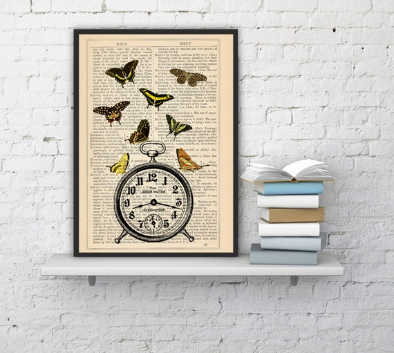 Butterflies Time Butterfly Alarm Clock collage Print on Vintage Dictionary  page - book art print BFL011