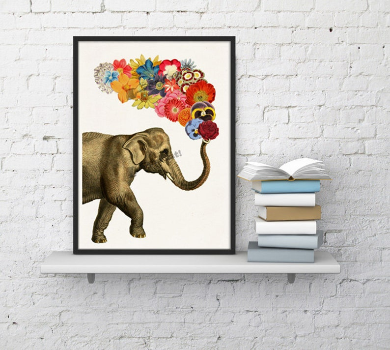 Animal art print. Elephant with Flowers print. Nursery Wall image 0