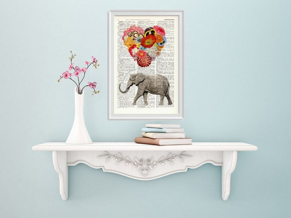 gift Elephant with a heart shaped balloon of Flowers print- Nursery art, dictionary art, gift her, art print BPAN102b