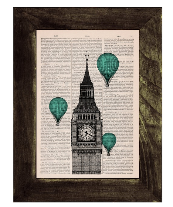 Christmas gifts for her London Big Ben Tower Turquoise Balloon Ride Print on Vintage Book art, Wall art, Wall decor, Home decor  TVH012