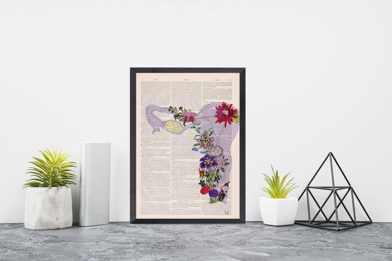 Purple Uterus Art Print  Obgyn Gift  Nature Anatomy  image 0