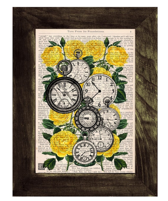 Book print Watch collage dictionary book Clocks over Roses -Time to see you-book print on Vintage  art BFL112