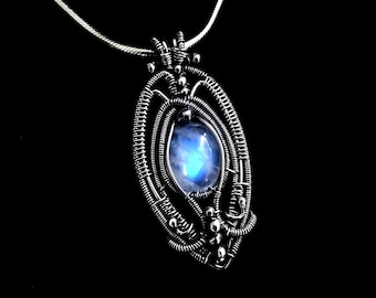 Moonstone Pendant - Wire Wrapped Sterling Silver Necklace - Fantasy Jewelry - Gothic Collection