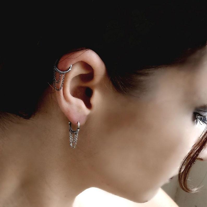 Lobe Earrings Cartilage Chain Earrings Helix Piercing Hoop Earrings Sterling Silver Earrings 925 Silver Plain Silver Collection