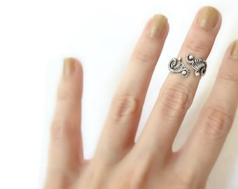 Silver Knuckle Ring - Adjustable Midi Ring - Mid Finger Ring - Gothic Ring - Fine Rings - 980 Silver Jewelry - Plain Silver Collection